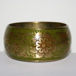 Vintage Brass and green bangle bracelet